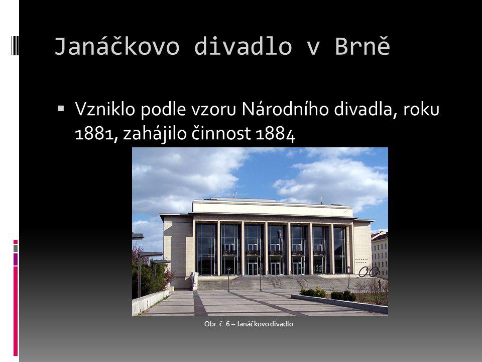 Janáčkovo divadlo v Brně  Vzniklo podle vzoru Národního divadla, roku 1881, zahájilo činnost 1884 Obr.