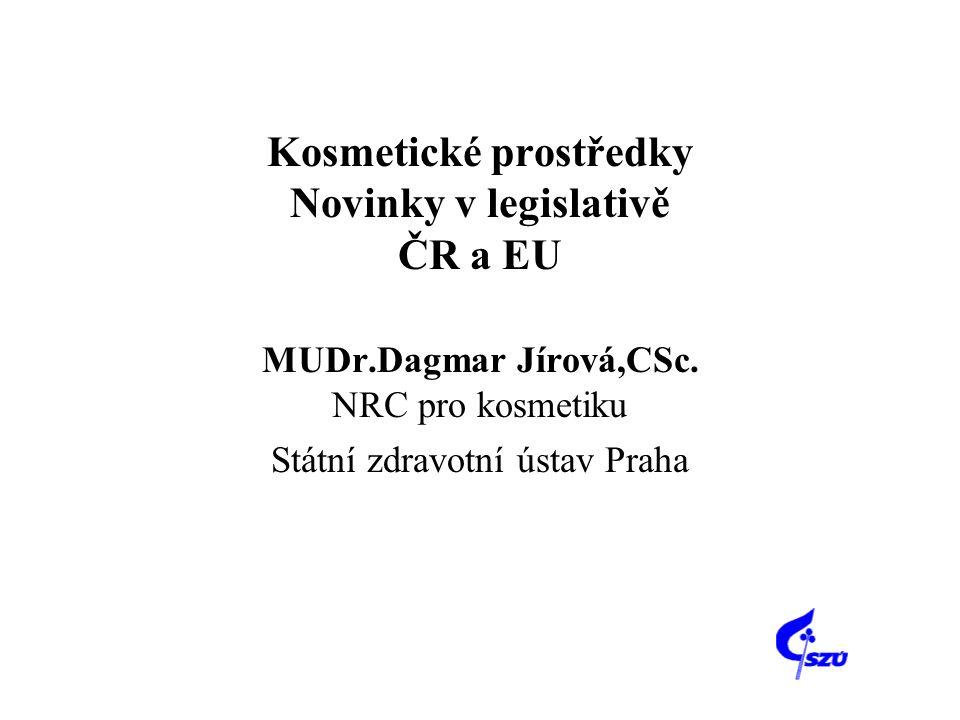 Kosmetické prostředky Novinky v legislativě ČR a EU MUDr.Dagmar Jírová,CSc. NRC pro kosmetiku Státní zdravotní ústav Praha