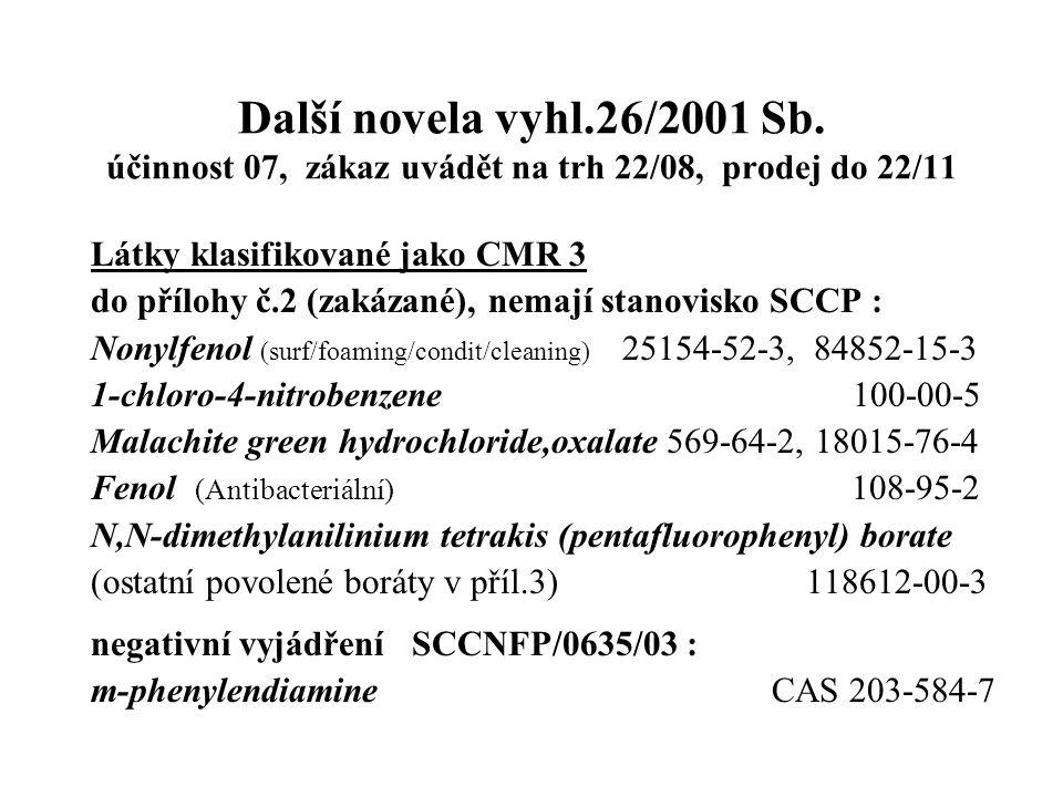 Další novela vyhl.26/2001 Sb. účinnost 07, zákaz uvádět na trh 22/08, prodej do 22/11 Látky klasifikované jako CMR 3 do přílohy č.2 (zakázané), nemají