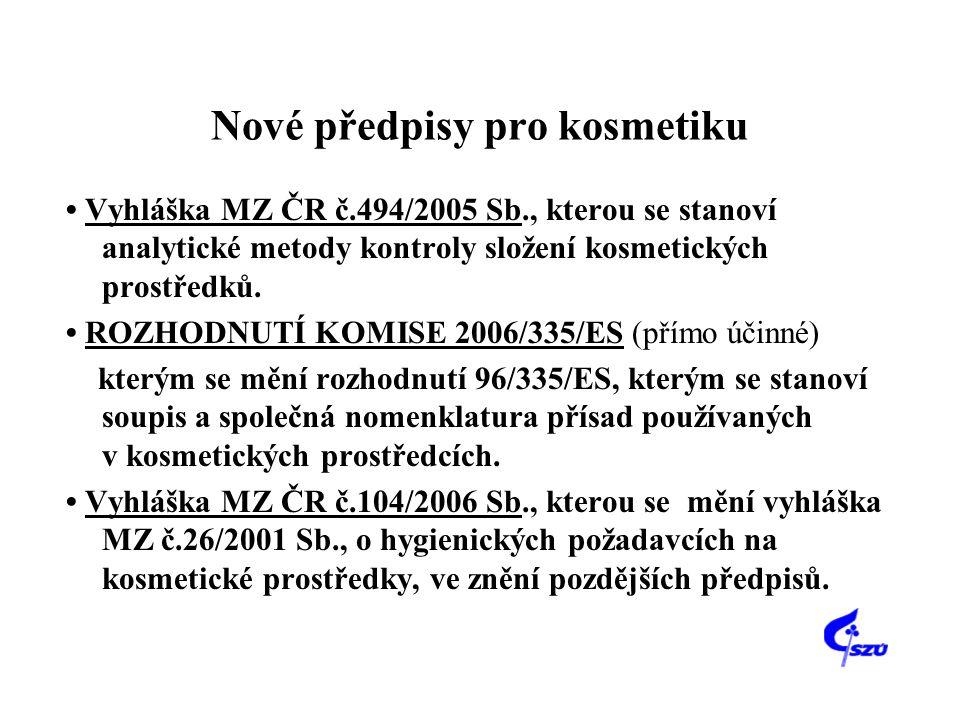 Nové předpisy pro kosmetiku • Vyhláška MZ ČR č.494/2005 Sb., kterou se stanoví analytické metody kontroly složení kosmetických prostředků. • ROZHODNUT