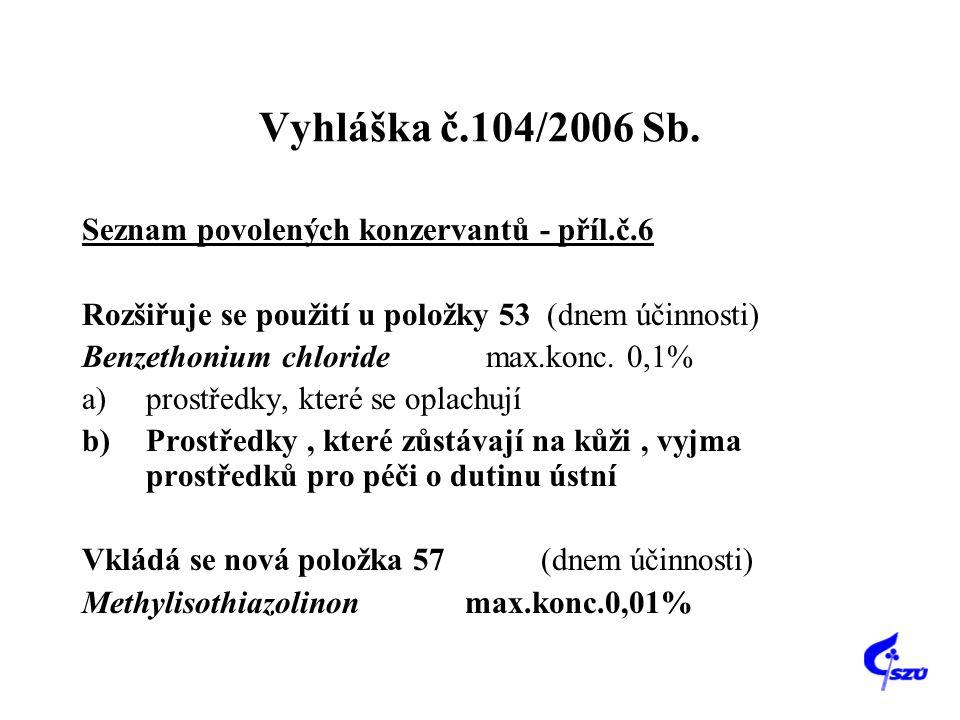 Vyhláška č.104/2006 Sb. Seznam povolených konzervantů - příl.č.6 Rozšiřuje se použití u položky 53 (dnem účinnosti) Benzethonium chloride max.konc. 0,