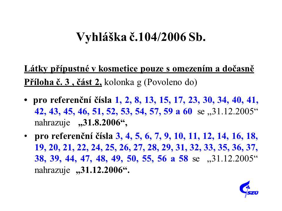 Vyhláška č.104/2006 Sb. Látky přípustné v kosmetice pouze s omezením a dočasně Příloha č. 3, část 2, kolonka g (Povoleno do) • pro referenční čísla 1,
