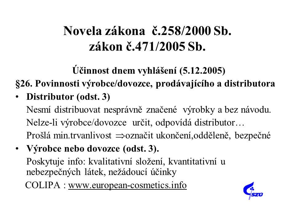 Novela zákona č.258/2000 Sb. zákon č.471/2005 Sb. Účinnost dnem vyhlášení (5.12.2005) §26. Povinnosti výrobce/dovozce, prodávajícího a distributora •D