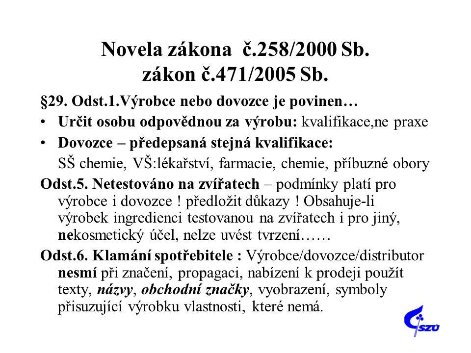 Novela zákona č.258/2000 Sb. zákon č.471/2005 Sb. §29. Odst.1.Výrobce nebo dovozce je povinen… •Určit osobu odpovědnou za výrobu: kvalifikace,ne praxe