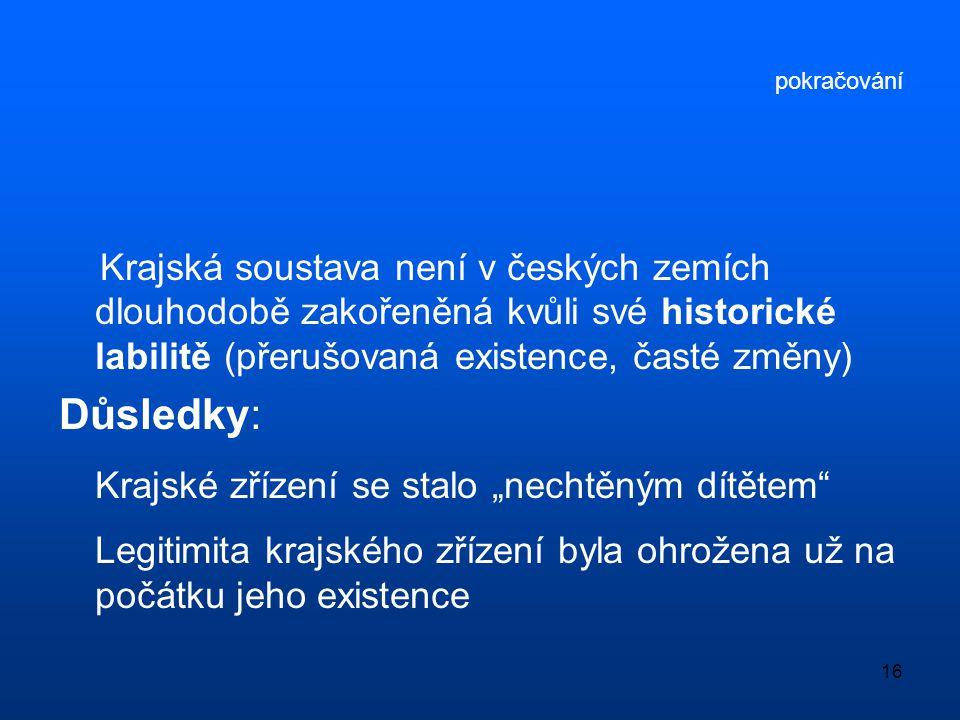 16 pokračování Krajská soustava není v českých zemích dlouhodobě zakořeněná kvůli své historické labilitě (přerušovaná existence, časté změny) Důsledk