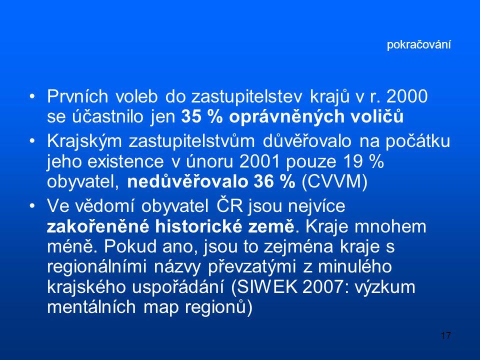 17 pokračování •Prvních voleb do zastupitelstev krajů v r. 2000 se účastnilo jen 35 % oprávněných voličů •Krajským zastupitelstvům důvěřovalo na počát