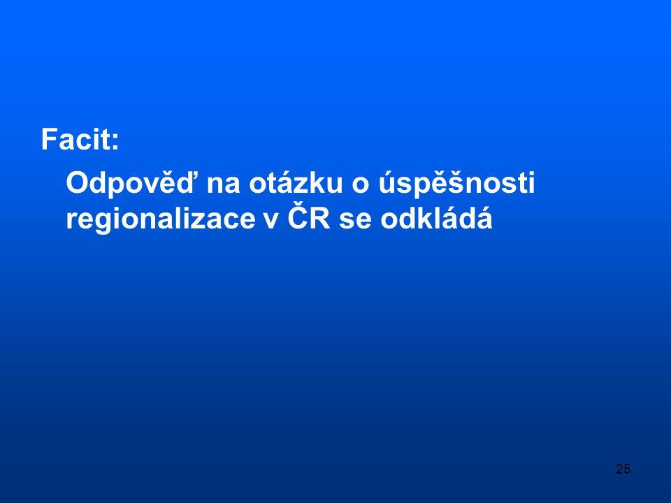 25 Facit: Odpověď na otázku o úspěšnosti regionalizace v ČR se odkládá