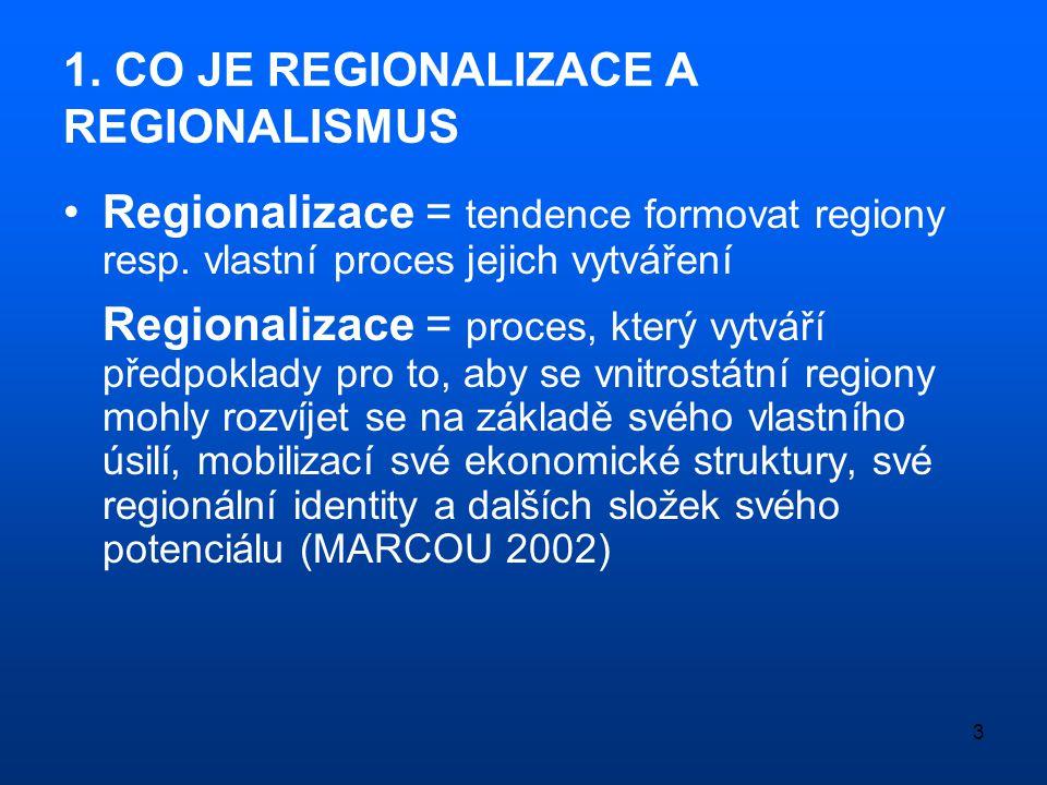 3 1. CO JE REGIONALIZACE A REGIONALISMUS •Regionalizace = tendence formovat regiony resp. vlastní proces jejich vytváření Regionalizace = proces, kter