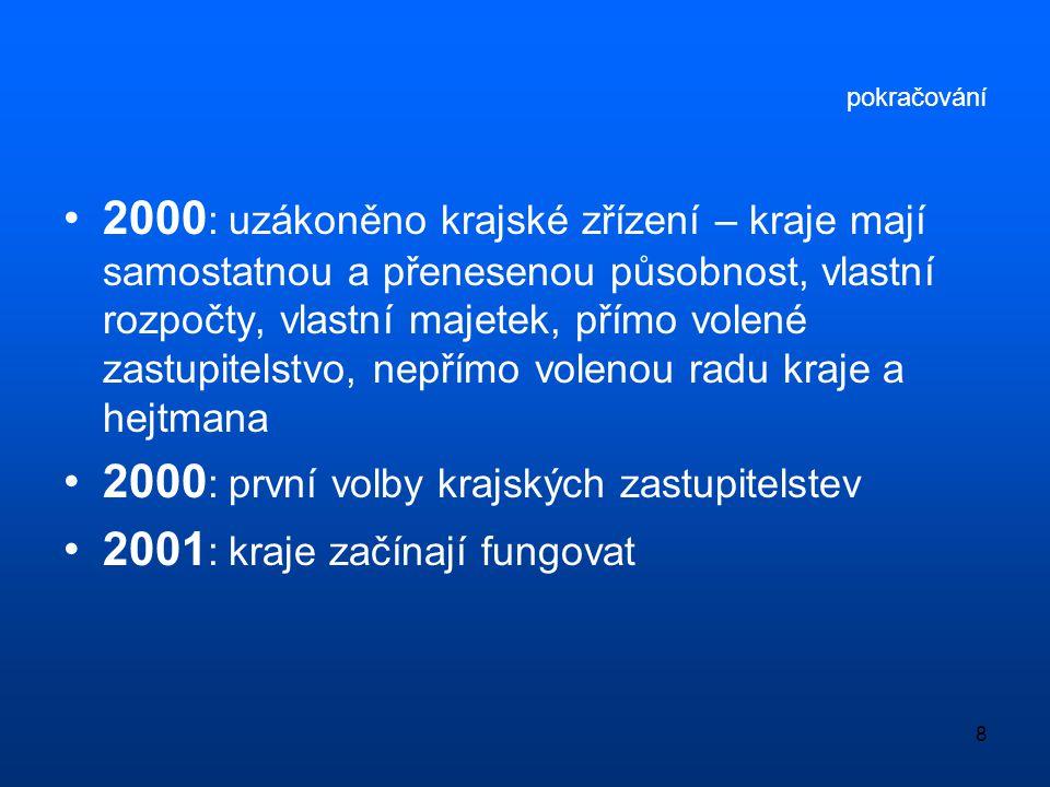 8 pokračování •2000 : uzákoněno krajské zřízení – kraje mají samostatnou a přenesenou působnost, vlastní rozpočty, vlastní majetek, přímo volené zastu
