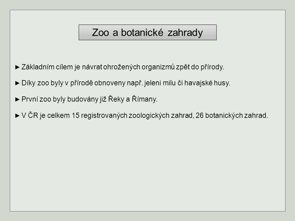 Zoo a botanické zahrady ► Základním cílem je návrat ohrožených organizmů zpět do přírody. ► Díky zoo byly v přírodě obnoveny např. jeleni milu či hava