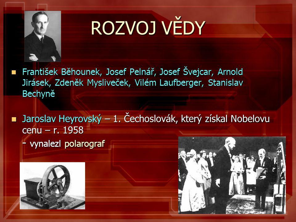 ROZVOJ VĚDY  František Běhounek, Josef Pelnář, Josef Švejcar, Arnold Jirásek, Zdeněk Mysliveček, Vilém Laufberger, Stanislav Bechyně  Jaroslav Heyro