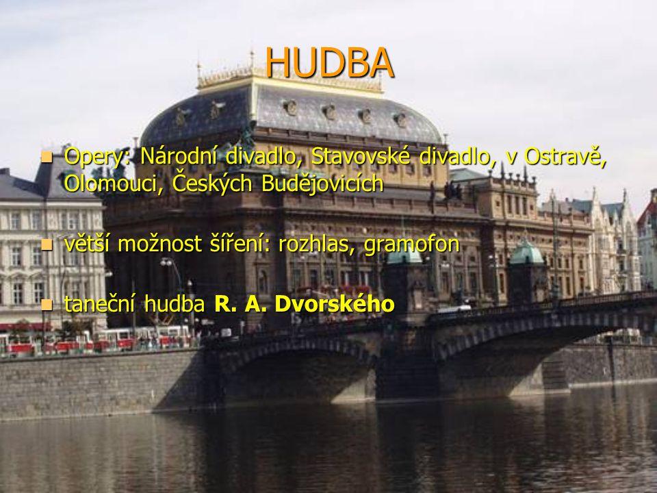 HUDBA  Opery: Národní divadlo, Stavovské divadlo, v Ostravě, Olomouci, Českých Budějovicích  větší možnost šíření: rozhlas, gramofon  taneční hudba