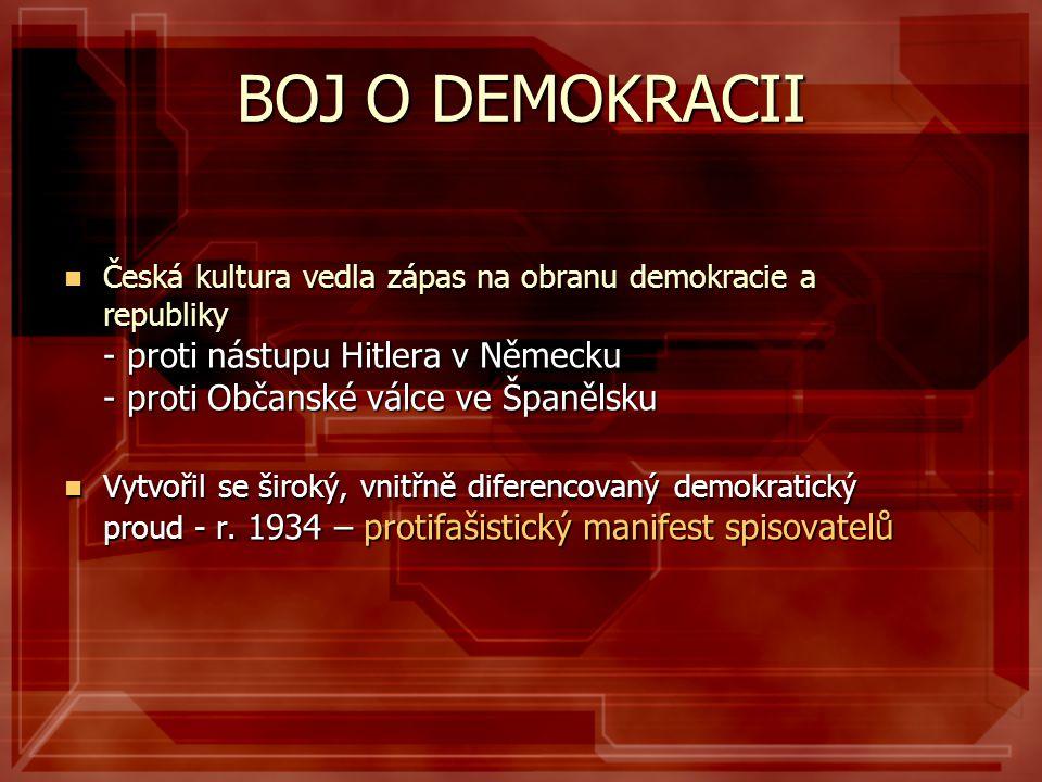 BOJ O DEMOKRACII  Česká kultura vedla zápas na obranu demokracie a republiky - proti nástupu Hitlera v Německu - proti Občanské válce ve Španělsku 