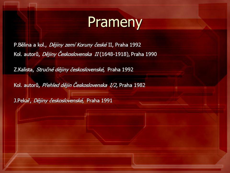 Prameny P.Bělina a kol., Dějiny zemí Koruny české II, Praha 1992 Kol. autorů, Dějiny Československa II (1648-1918), Praha 1990 Z.Kalista, Stručné ději