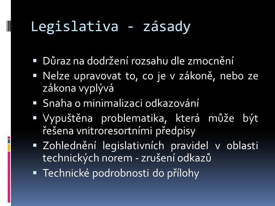 Legislativa - zásady  Důraz na dodržení rozsahu dle zmocnění  Nelze upravovat to, co je v zákoně, nebo ze zákona vyplývá  Snaha o minimalizaci odkazování  Vypuštěna problematika, která může být řešena vnitroresortními předpisy  Zohlednění legislativních pravidel v oblasti technických norem - zrušení odkazů  Technické podrobnosti do přílohy