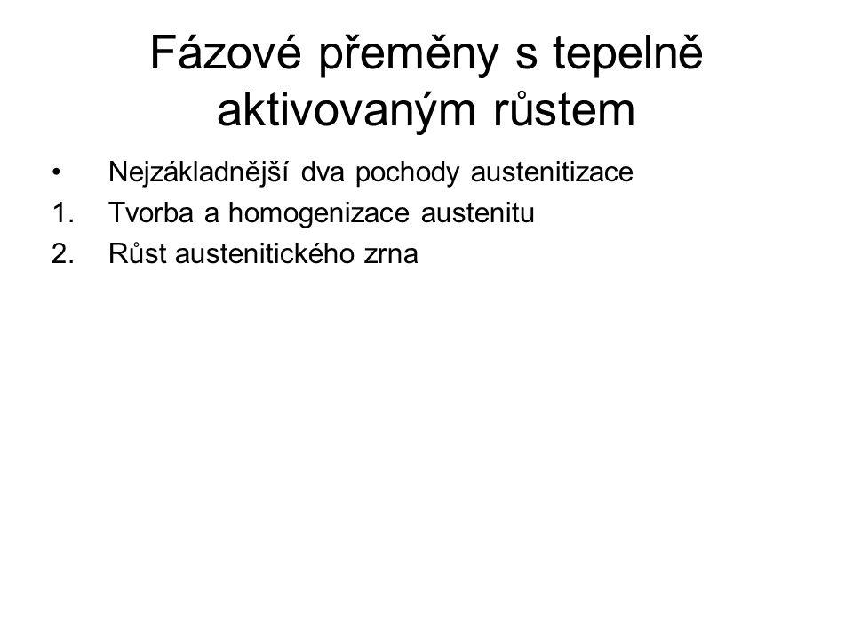 Fázové přeměny s tepelně aktivovaným růstem •Nejzákladnější dva pochody austenitizace 1.Tvorba a homogenizace austenitu 2.Růst austenitického zrna