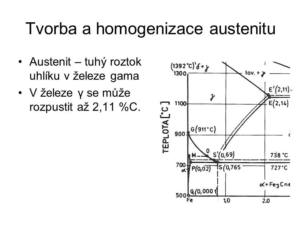 Tvorba a homogenizace austenitu •Austenit – tuhý roztok uhlíku v železe gama •V železe γ se může rozpustit až 2,11 %C.