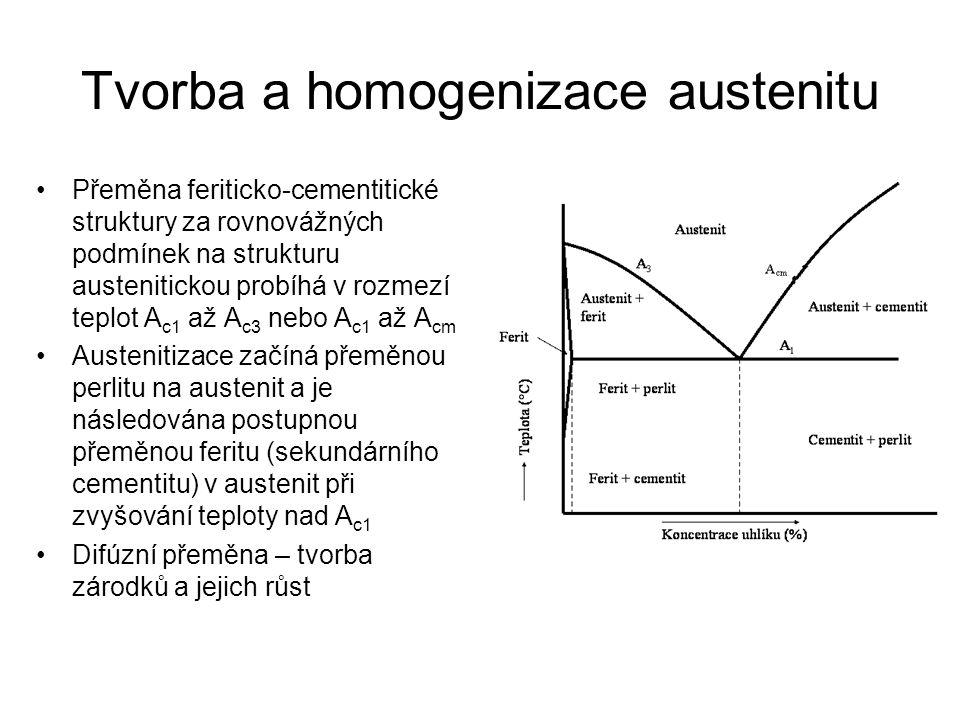 Tvorba a homogenizace austenitu •Přeměna feriticko-cementitické struktury za rovnovážných podmínek na strukturu austenitickou probíhá v rozmezí teplot