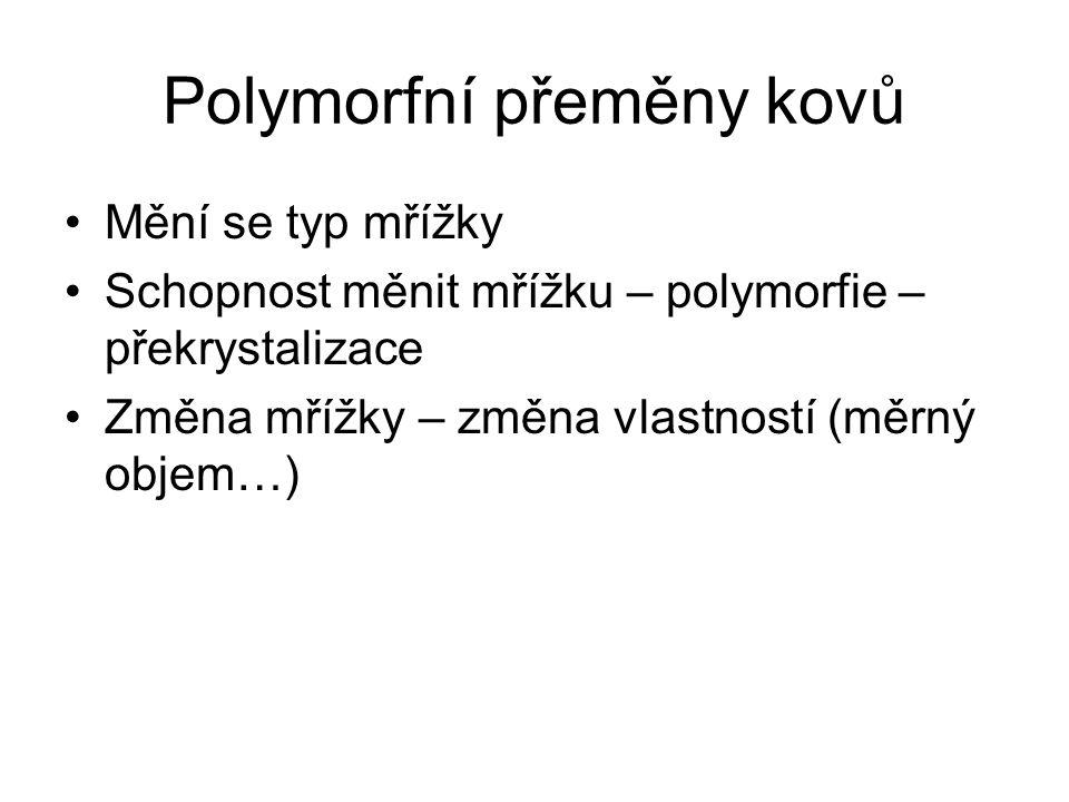 Polymorfní přeměny kovů •Mění se typ mřížky •Schopnost měnit mřížku – polymorfie – překrystalizace •Změna mřížky – změna vlastností (měrný objem…)