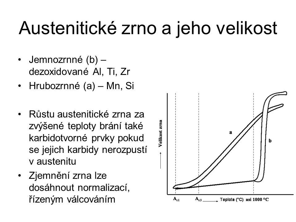 Austenitické zrno a jeho velikost •Jemnozrnné (b) – dezoxidované Al, Ti, Zr •Hrubozrnné (a) – Mn, Si •Růstu austenitické zrna za zvýšené teploty brání