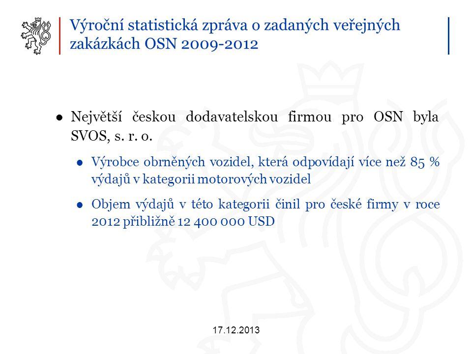 Výroční statistická zpráva o zadaných veřejných zakázkách OSN 2009-2012 ●Největší českou dodavatelskou firmou pro OSN byla SVOS, s.