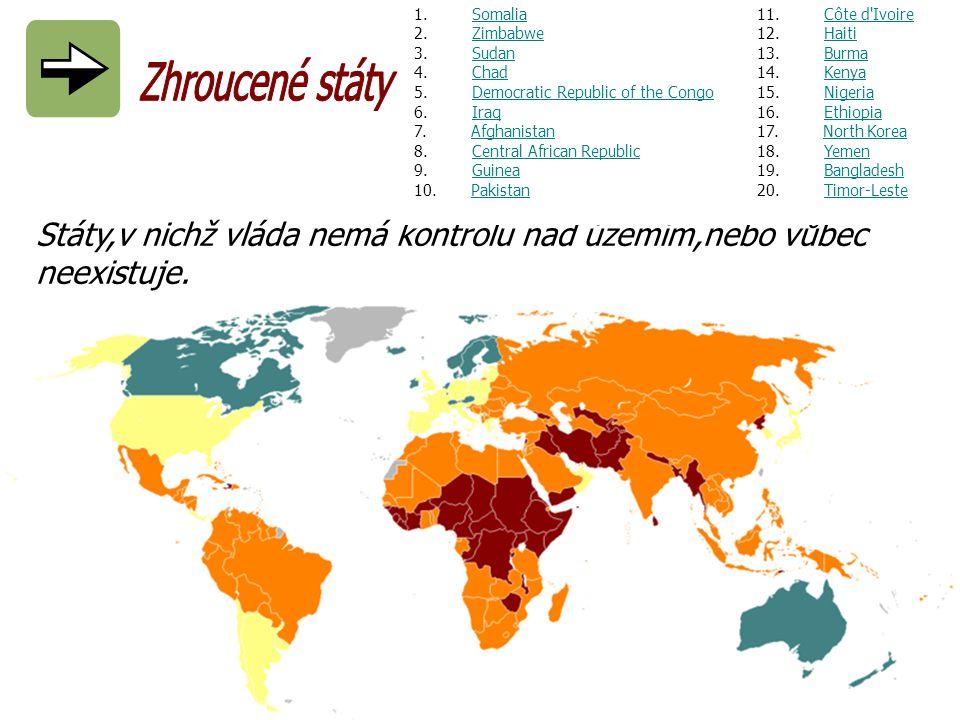 Státy,v nichž vláda nemá kontrolu nad územím,nebo vůbec neexistuje. 1. Somalia 2. Zimbabwe 3. SudanSomaliaZimbabweSudan 4. Chad 5. Democratic Republic