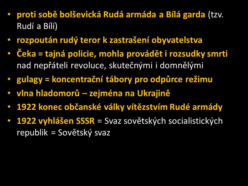 • proti sobě bolševická Rudá armáda a Bílá garda (tzv. Rudí a Bílí) • rozpoután rudý teror k zastrašení obyvatelstva • Čeka = tajná policie, mohla pro