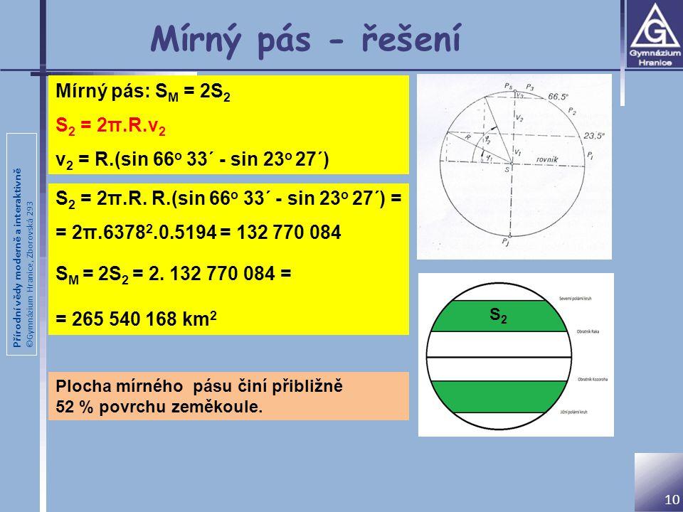 Přírodní vědy moderně a interaktivně ©Gymnázium Hranice, Zborovská 293 10 Mírný pás - řešení S 2 = 2π.R. R.(sin 66 o 33´ - sin 23 o 27´) = = 2π.6378 2