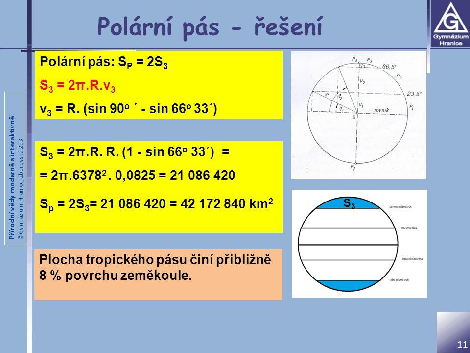 Přírodní vědy moderně a interaktivně ©Gymnázium Hranice, Zborovská 293 11 Polární pás - řešení S 3 = 2π.R. R. (1 - sin 66 o 33´) = = 2π.6378 2. 0,0825