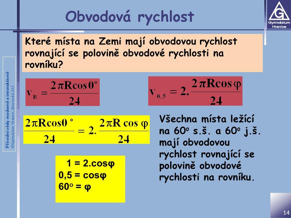 Přírodní vědy moderně a interaktivně ©Gymnázium Hranice, Zborovská 293 Obvodová rychlost 14 Které místa na Zemi mají obvodovou rychlost rovnající se polovině obvodové rychlosti na rovníku.
