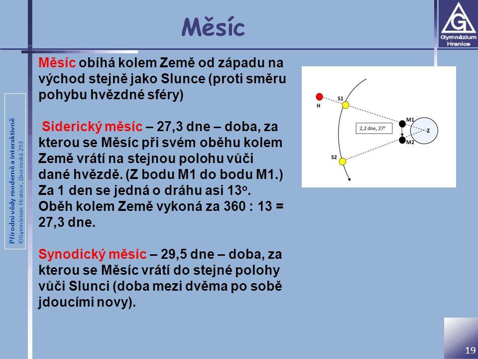 Přírodní vědy moderně a interaktivně ©Gymnázium Hranice, Zborovská 293 Měsíc 19 Měsíc obíhá kolem Země od západu na východ stejně jako Slunce (proti s