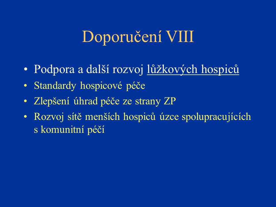 Doporučení VIII •Podpora a další rozvoj lůžkových hospiců •Standardy hospicové péče •Zlepšení úhrad péče ze strany ZP •Rozvoj sítě menších hospiců úzce spolupracujících s komunitní péčí