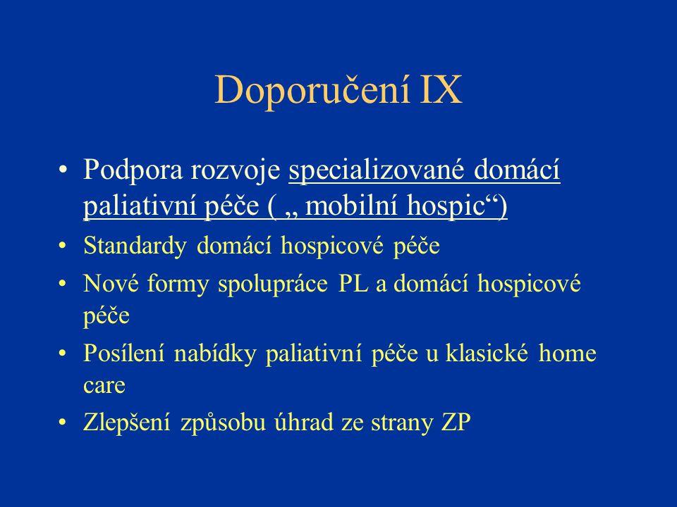 """Doporučení IX •Podpora rozvoje specializované domácí paliativní péče ( """" mobilní hospic"""") •Standardy domácí hospicové péče •Nové formy spolupráce PL a"""