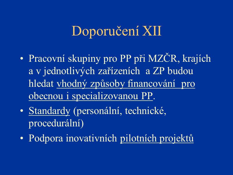 Doporučení XII •Pracovní skupiny pro PP při MZČR, krajích a v jednotlivých zařízeních a ZP budou hledat vhodný způsoby financování pro obecnou i specializovanou PP.