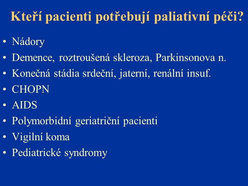 Kteří pacienti potřebují paliativní péči? •Nádory •Demence, roztroušená skleroza, Parkinsonova n. •Konečná stádia srdeční, jaterní, renální insuf. •CH