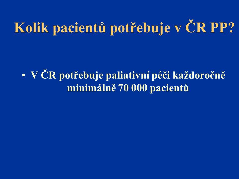 Kolik pacientů potřebuje v ČR PP? •V ČR potřebuje paliativní péči každoročně minimálně 70 000 pacientů