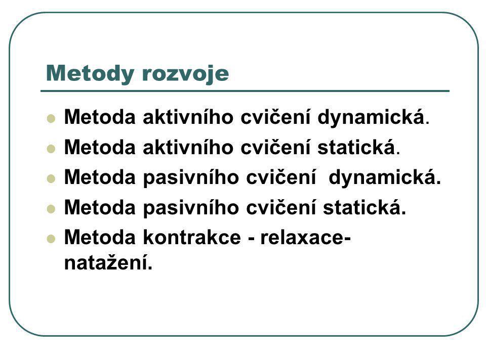 Metody rozvoje  Metoda aktivního cvičení dynamická.  Metoda aktivního cvičení statická.  Metoda pasivního cvičení dynamická.  Metoda pasivního cvi