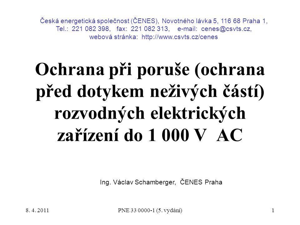 32 reaktance vodiče na jednotku délky: fázový vodič: X´ L = 0,078 Ω/km vodič PEN: X´ PEN = 0,078 Ω/km Výpočtem se stanoví: rezistance vodiče na jednotku délky při teplotě 80 °C: fázový vodič: R´ L = 0,32 Ω/km vodič PEN: R´ PEN = 0,549 Ω/km Výpočtem se stanoví: impedance vodiče na jednotku délky (teplota vodiče 80 °C): fázový vodič: Z´ L = 0,327 Ω/km vodič PEN: Z´ PEN = 0,553 Ω/km Pojistka:určená pro jištění kabelu AYKY 3 x 120 + 70 mm 2 jmenovitý proud pojistky I n = 200 A, charakteristika gG proud zajišťující přetavení pojistky v čase t = 30 s: I a = 630 A Výpočtem se stanoví nejvyšší dovolená impedance poruchové smyčky z hlediska parametrů pojistky: Z s max = 0,346 Ω PNE 33 0000-1 (5.
