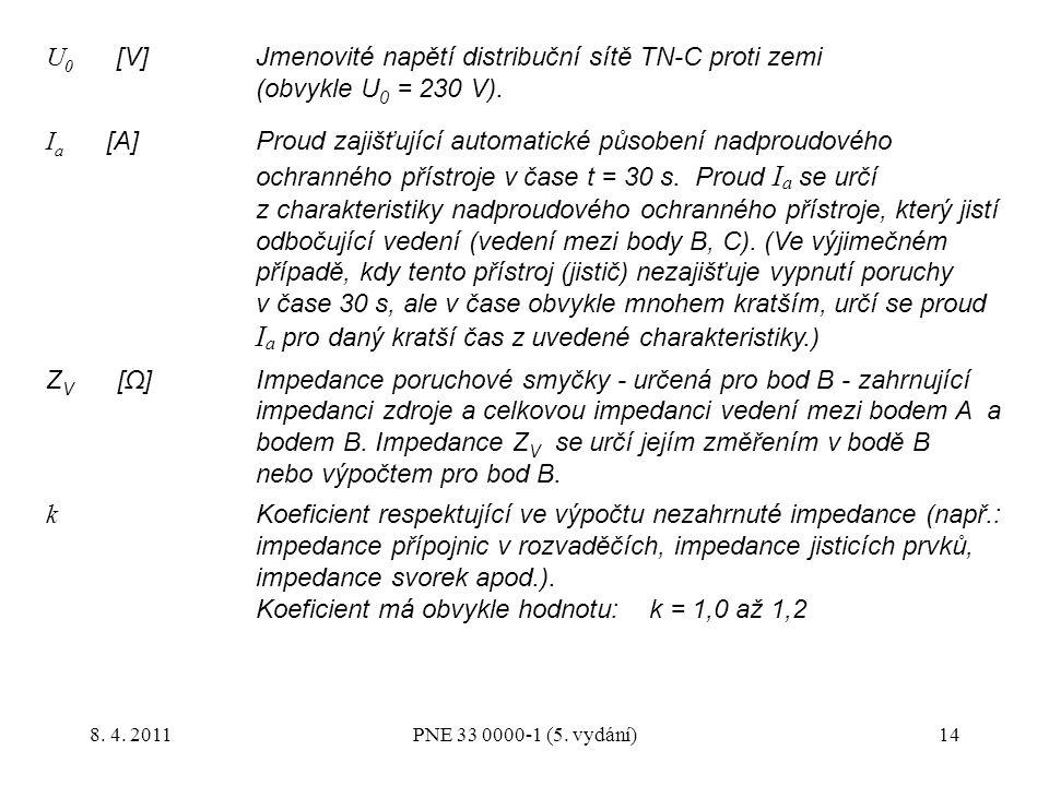 14 U 0 [V]Jmenovité napětí distribuční sítě TN-C proti zemi (obvykle U 0 = 230 V). I a [A]Proud zajišťující automatické působení nadproudového ochrann