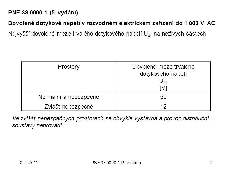 2 ProstoryDovolené meze trvalého dotykového napětí U dL [V] Normální a nebezpečné50 Zvlášť nebezpečné12 Ve zvlášť nebezpečných prostorech se obvykle v