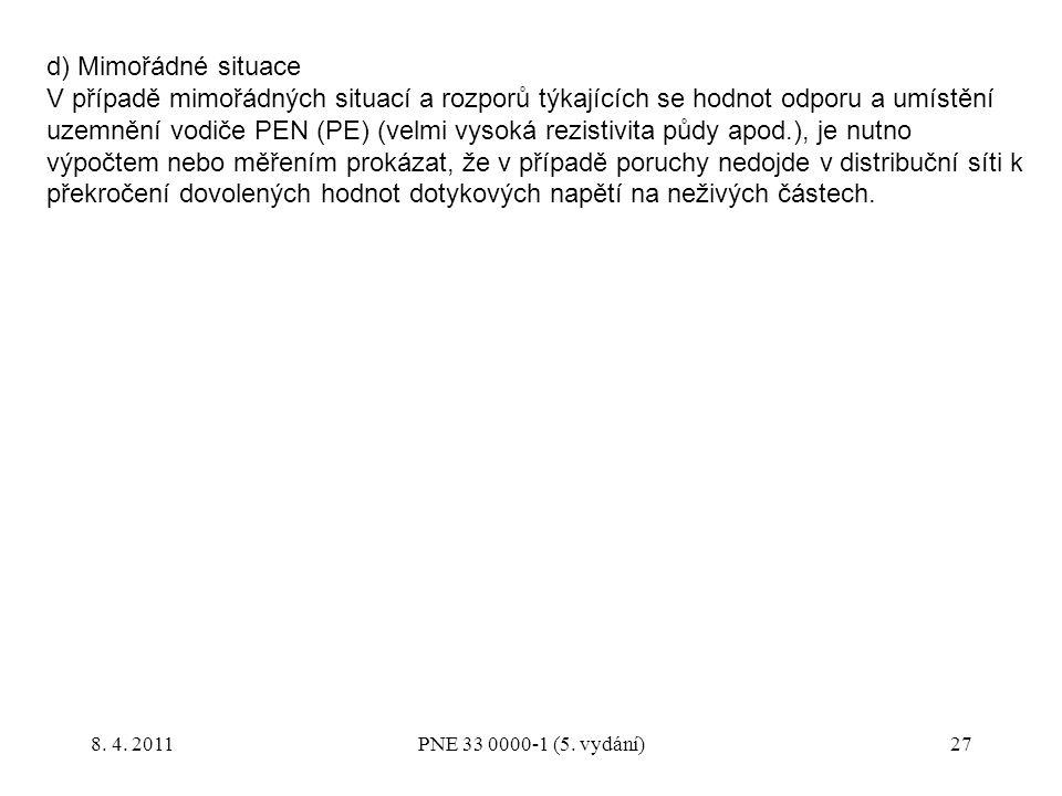 27 d) Mimořádné situace V případě mimořádných situací a rozporů týkajících se hodnot odporu a umístění uzemnění vodiče PEN (PE) (velmi vysoká rezistiv