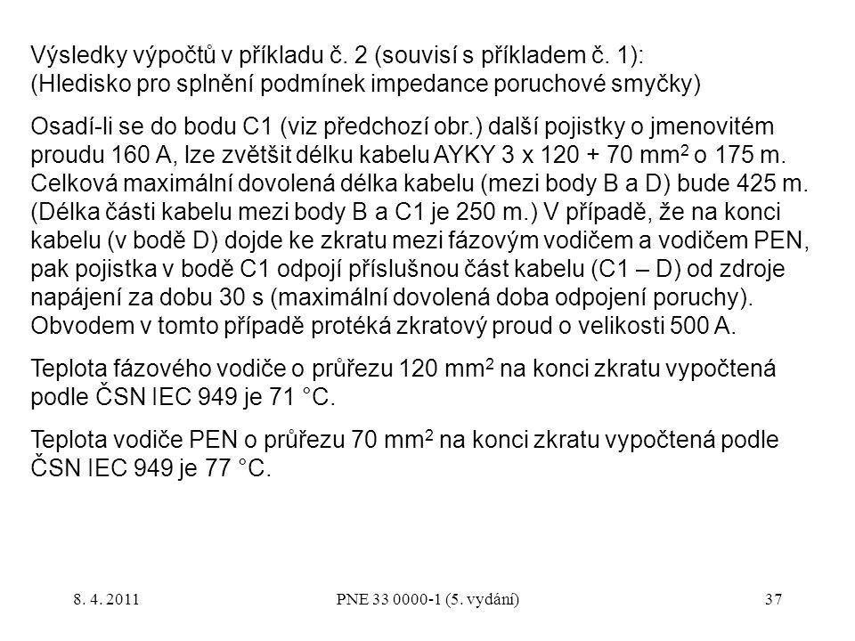 37 Výsledky výpočtů v příkladu č. 2 (souvisí s příkladem č. 1): (Hledisko pro splnění podmínek impedance poruchové smyčky) Osadí-li se do bodu C1 (viz