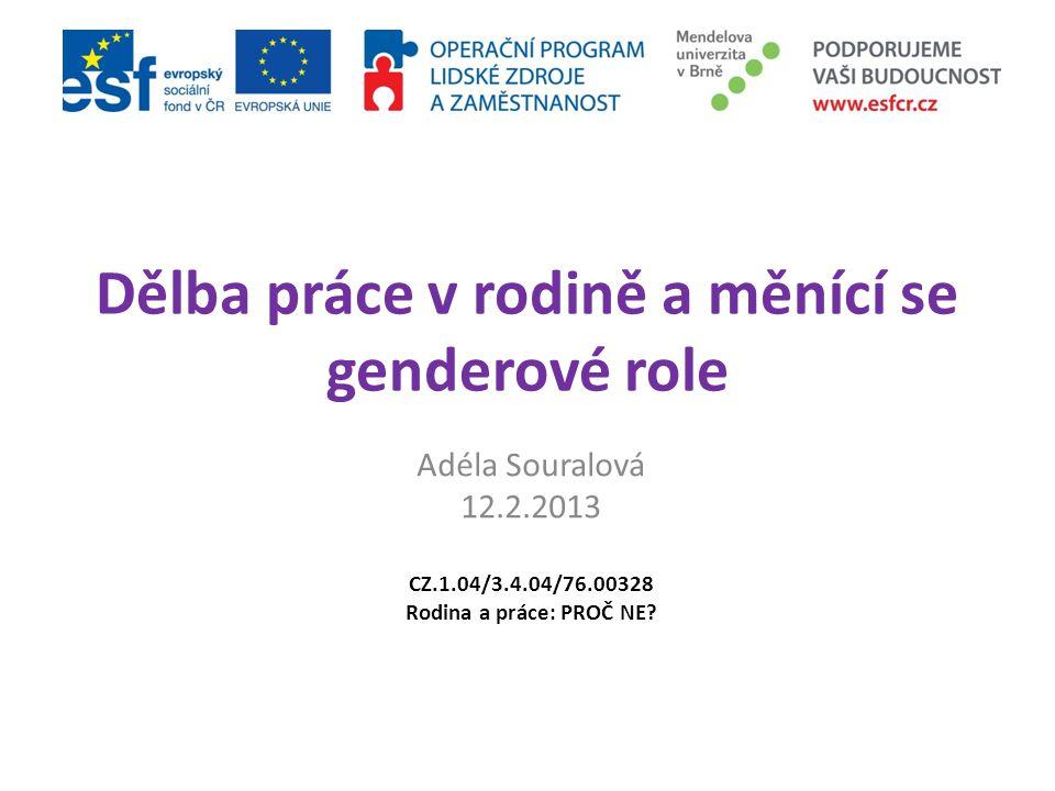 Dělba práce v rodině a měnící se genderové role Adéla Souralová 12.2.2013 CZ.1.04/3.4.04/76.00328 Rodina a práce: PROČ NE?