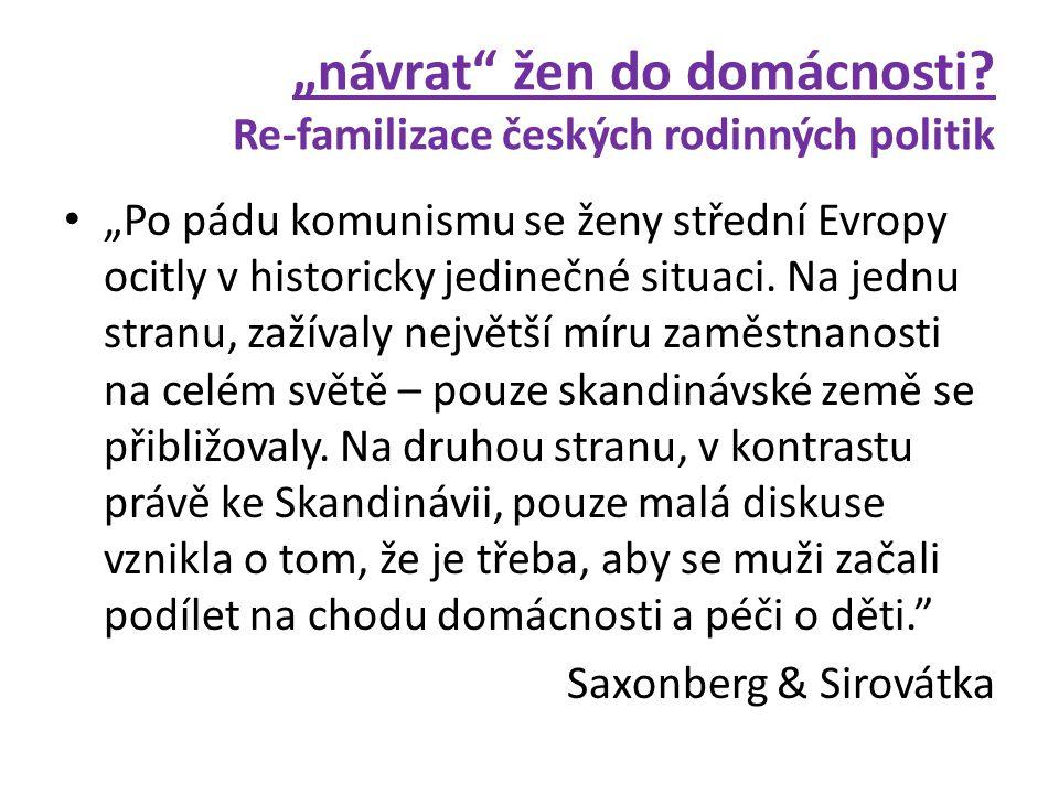 """""""návrat"""" žen do domácnosti? Re-familizace českých rodinných politik • """"Po pádu komunismu se ženy střední Evropy ocitly v historicky jedinečné situaci."""