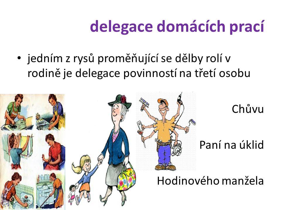 delegace domácích prací • jedním z rysů proměňující se dělby rolí v rodině je delegace povinností na třetí osobu Chůvu Paní na úklid Hodinového manžel