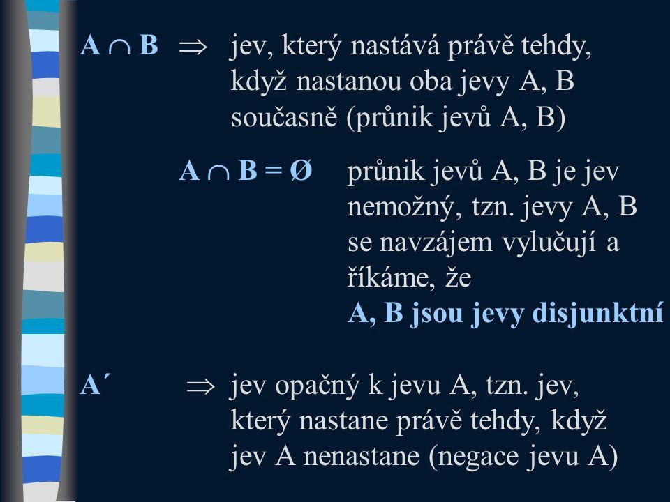 A  B  jev, který nastává právě tehdy, když nastanou oba jevy A, B současně (průnik jevů A, B) A  B = Øprůnik jevů A, B je jev nemožný, tzn.