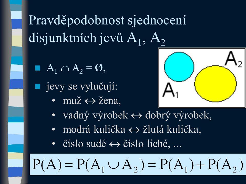 Pravděpodobnost sjednocení disjunktních jevů A 1, A 2  A 1  A 2 = Ø,  jevy se vylučují: •muž  žena, •vadný výrobek  dobrý výrobek, •modrá kulička  žlutá kulička, •číslo sudé  číslo liché,...