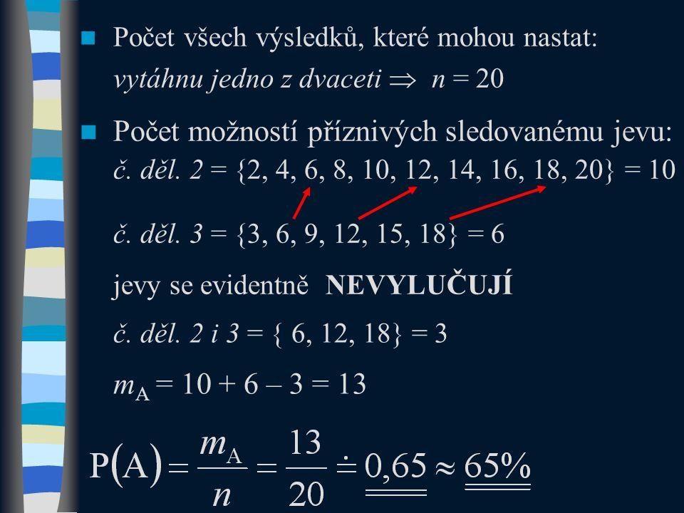  Počet všech výsledků, které mohou nastat: vytáhnu jedno z dvaceti  n = 20  Počet možností příznivých sledovanému jevu: č.