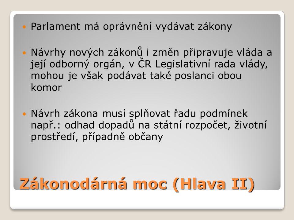 Zákonodárná moc (Hlava II)  Parlament má oprávnění vydávat zákony  Návrhy nových zákonů i změn připravuje vláda a její odborný orgán, v ČR Legislati