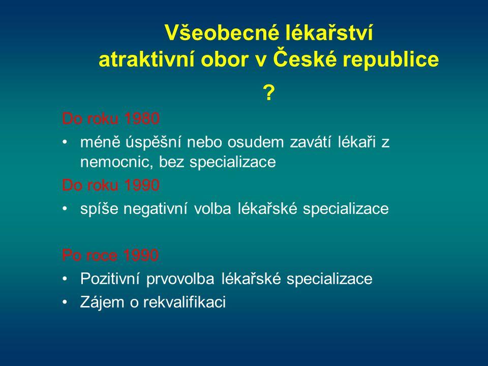 Všeobecné lékařství atraktivní obor v České republice ? Do roku 1980 •méně úspěšní nebo osudem zavátí lékaři z nemocnic, bez specializace Do roku 1990